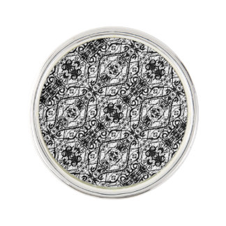 Black and White Ornate Pattern Lapel Pin