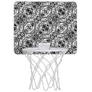Black and White Ornate Pattern Mini Basketball Hoop