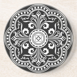 Black and White Ornate Victorian Pattern Coaster