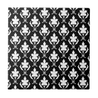 Black And White Ornate Wallpaper Pattern Ceramic Tiles