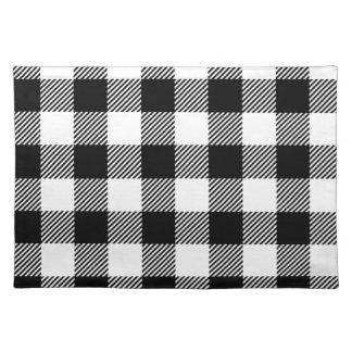 Black and White Outdoor Gingham Pattern Art Design Placemat