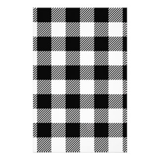 Black and White Outdoor Gingham Pattern Art Design Stationery