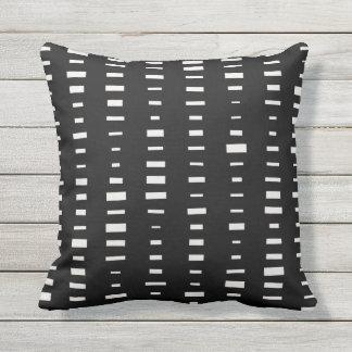 Black and White Outdoor Pillows - Block Stripe