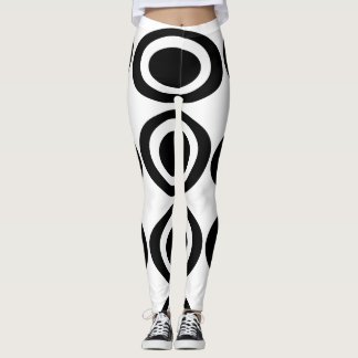 Black and white oval design leggings