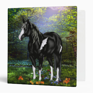 Black and White Overo Paint Horse 3 Ring Binder