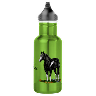 Black and White Overo Paint Horse 532 Ml Water Bottle