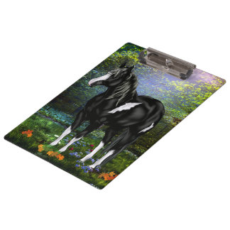 Black and White Overo Paint Horse Clipboard