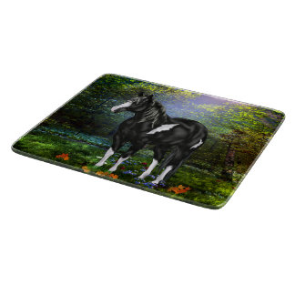 Black and White Overo Paint Horse Cutting Board