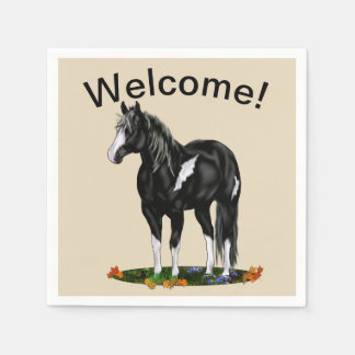 Black and White Overo Paint Horse Disposable Napkins