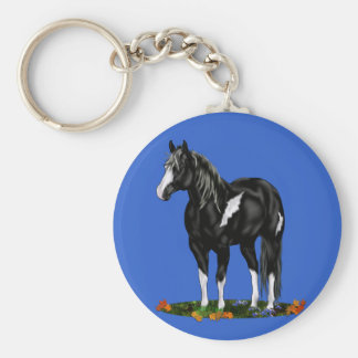 Black and White Overo Paint Horse Keychain