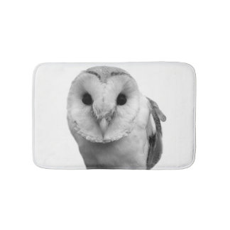 Black and white owl animal photo bathroom mat