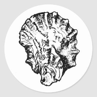 Black and White Oyster Shell Classic Round Sticker