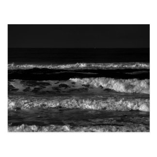Black and White Pacific Ocean Waves Postcard