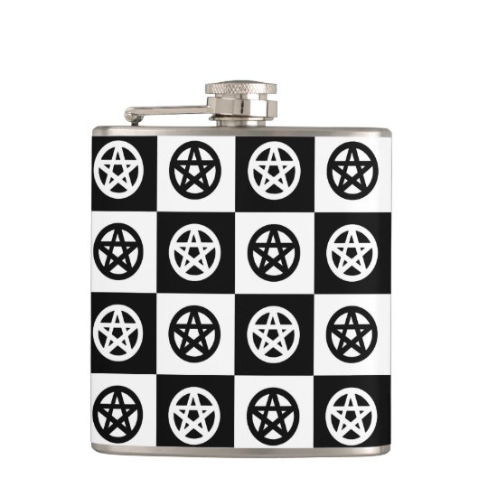 Black and White Pagan Pentacles Flasks