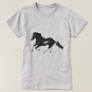 Black and White Paint Horse Running T-Shirt