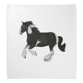 Black and White Paint Pinto Gypsy Vanner Horse Bandana