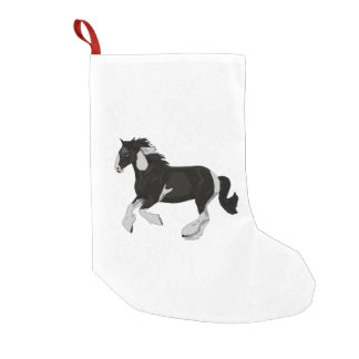 Black and White Paint Pinto Gypsy Vanner Horse Small Christmas Stocking