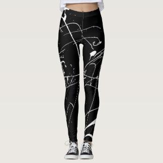 Black And White Paint Splat Leggings