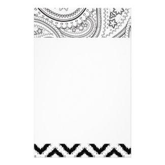 Black and White Paisley Art Customized Stationery