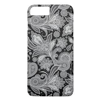 Black And White Paisley Ham Damasks Pattern iPhone 7 Plus Case