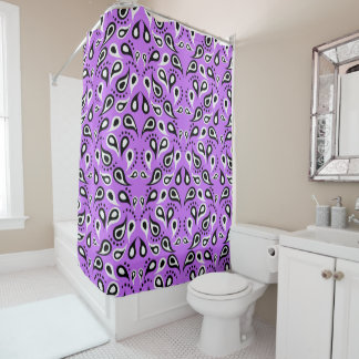 Black and White Paisley on Purple