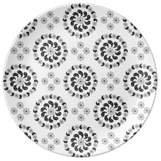 Black And White Paisley Pattern Dinner Plates Porcelain Plates