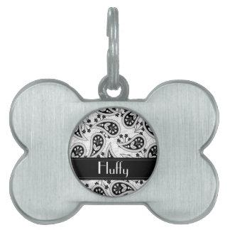Black and White Paisley Pattern Pet Name Tag