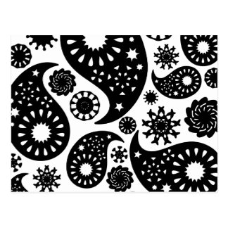 Black and White Paisley Pattern. Postcard