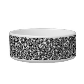 Black and white paisley pet food bowl