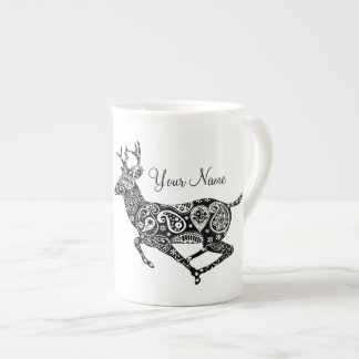Black and White Paisley Reindeer Bone China Mug