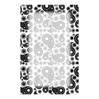 Black and White Paisley Personalized Stationery