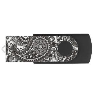 Black and White Paisley USB Flash Drive
