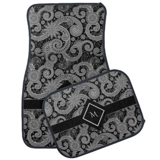 Black and White Paisley with Framed Initial Car Mat