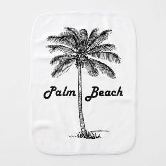 Black and white Palm Beach Florida & Palm design Burp Cloth