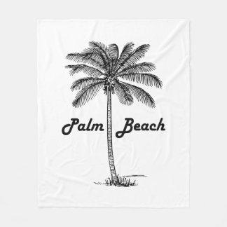 Black and white Palm Beach Florida & Palm design Fleece Blanket
