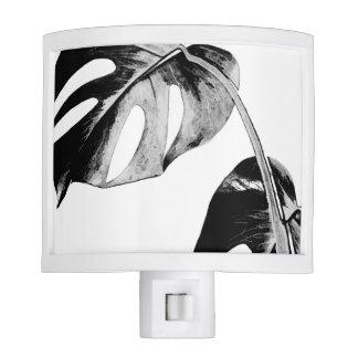 Black and white palm monstera leaves tropical nite lite