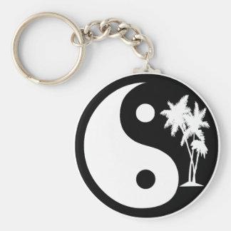 Black and White Palm Tree Yin Yang Keychain