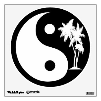 Black and White Palm Trees Yin Yang Wall Decal