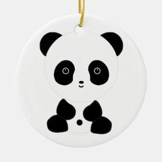 Black and White Panda Bear Ceramic Ornament