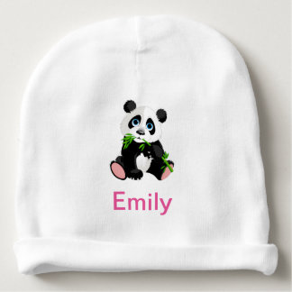 Black and White Panda Bear Eating Green Bamboo Baby Beanie
