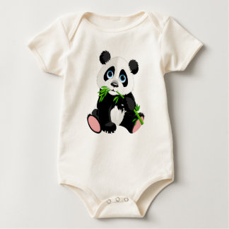 Black and White Panda Bear Eating Green Bamboo Baby Bodysuit