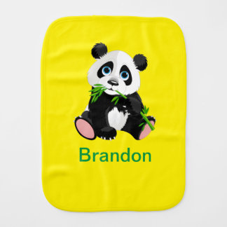Black and White Panda Bear Eating Green Bamboo Burp Cloth