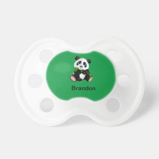 Black and White Panda Bear Eating Green Bamboo Pacifier