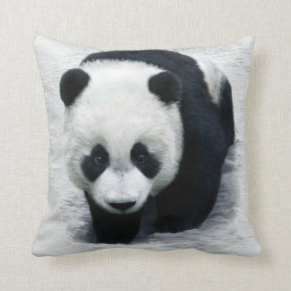 BLACK AND WHITE PANDA BEAR IN THE SNOW PILLOW