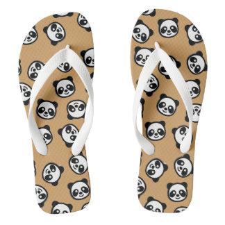Black and White Panda Cartoon Pattern Flip Flops
