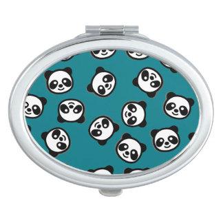 Black and White Panda Cartoon Pattern Travel Mirror