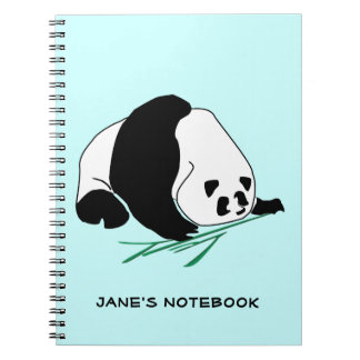 Black and White Panda Eats Bamboo Notebook