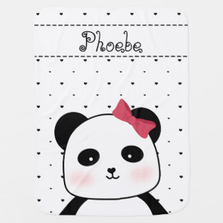 Black and White Panda Love baby girl's Receiving Blanket