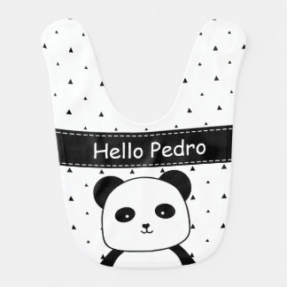 Black and White Panda Monochrome baby boy's Bib