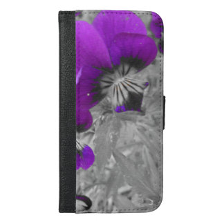 Black and White Pansy Effect iPhone 6/6s Plus Wallet Case